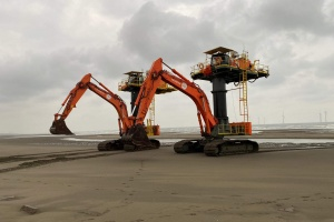 Jan De Nul deploys three ZX870 Starfish for construction windmill farm in Taiwan