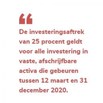 Investeer in 2020 en geniet van een 25% investeringsaftrek
